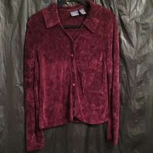 Laura Scott burgundy velour button up sweater Lc